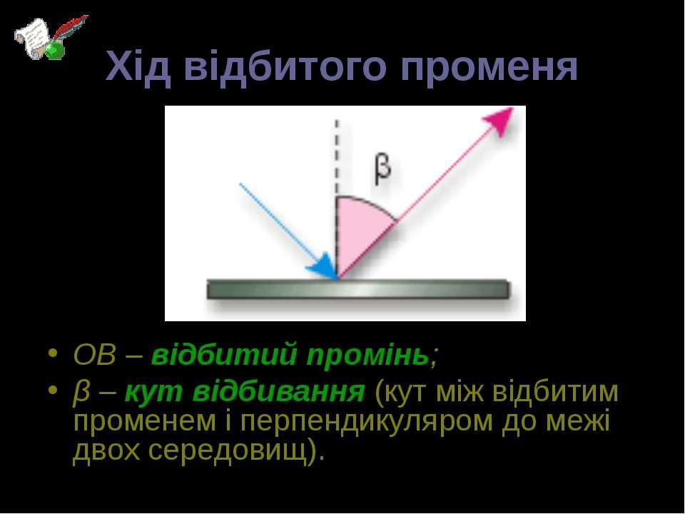 Хід відбитого променя ОВ – відбитий промінь; β – кут відбивання (кут між відб...