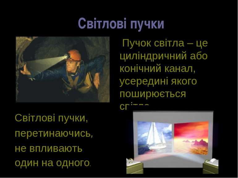 Світлові пучки Пучок світла – це циліндричний або конічний канал, усередині я...