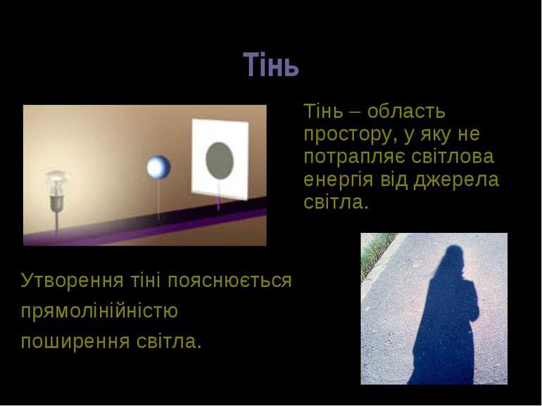 Тінь Тінь – область простору, у яку не потрапляє світлова енергія від джерела...