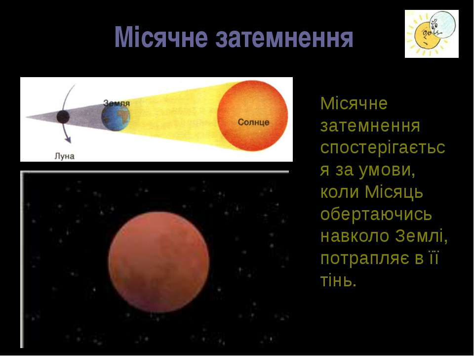 Місячне затемнення Місячне затемнення спостерігається за умови, коли Місяць о...