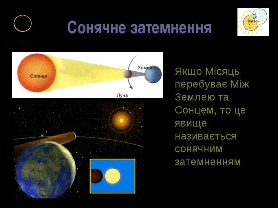 Сонячне затемнення Якщо Місяць перебуває Між Землею та Сонцем, то це явище на...