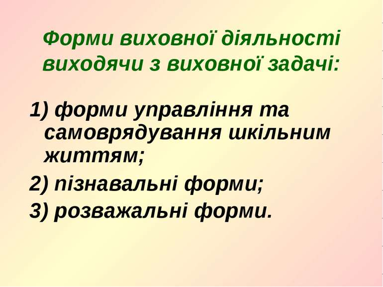 Форми виховної діяльності виходячи з виховної задачі: 1) форми управління та ...