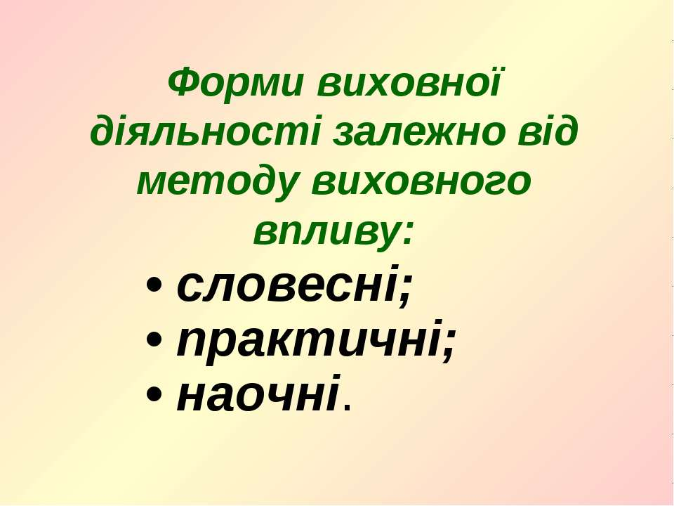 • словесні; • практичні; • наочні. Форми виховної діяльності залежно від мето...