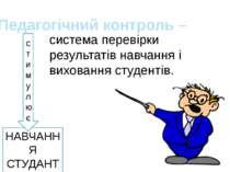 НАВЧАННЯ СТУДАНТА Педагогічний контроль – система перевірки результатів навча...