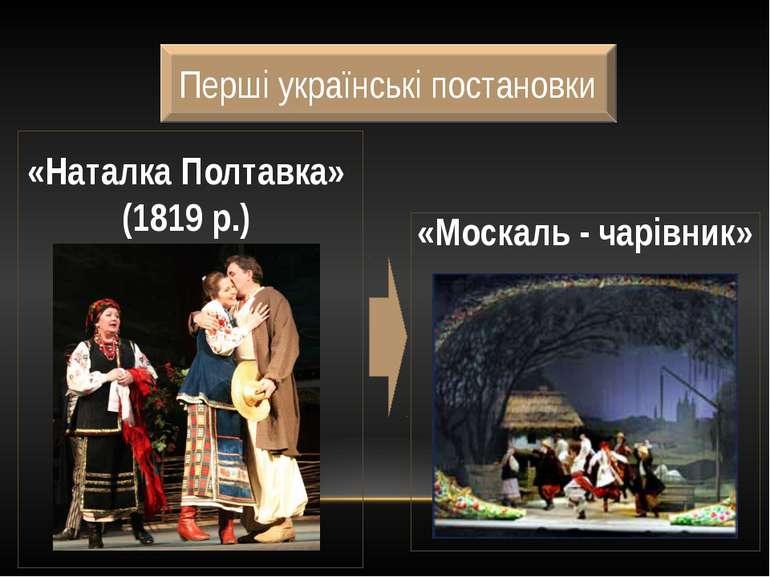 Перші українські постановки «Наталка Полтавка» (1819 р.) «Москаль - чарівник»