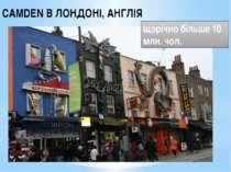 CAMDEN В ЛОНДОНІ, АНГЛІЯ щорічно більше 10 млн. чол.