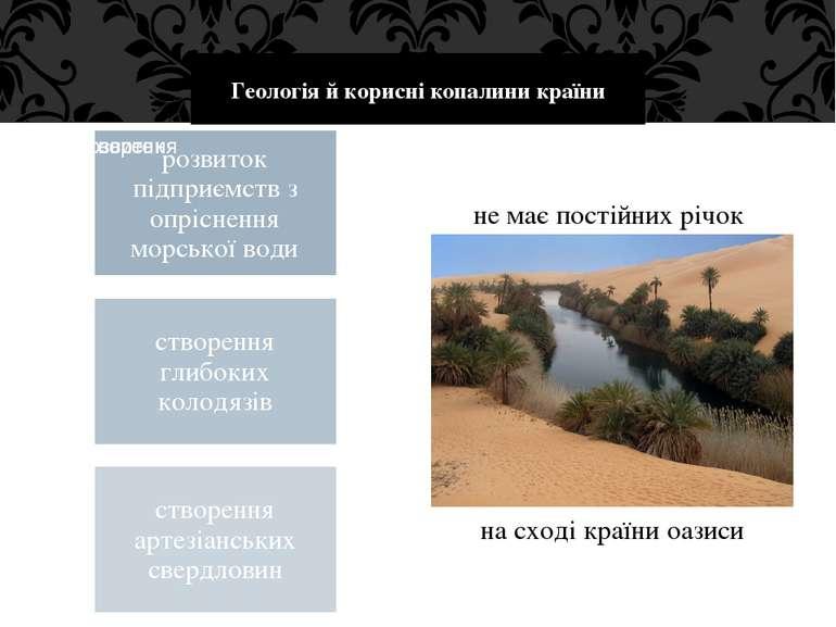 Геологія й корисні копалини країни не має постійних річок на сході країни оазиси