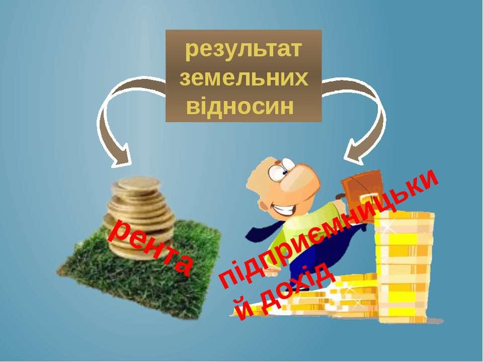 результат земельних відносин рента підприємницький дохід