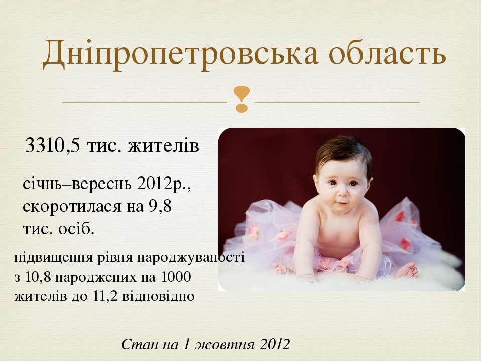 Дніпропетровська область Стан на 1 жовтня 2012 3310,5 тис. жителів січнь–вере...