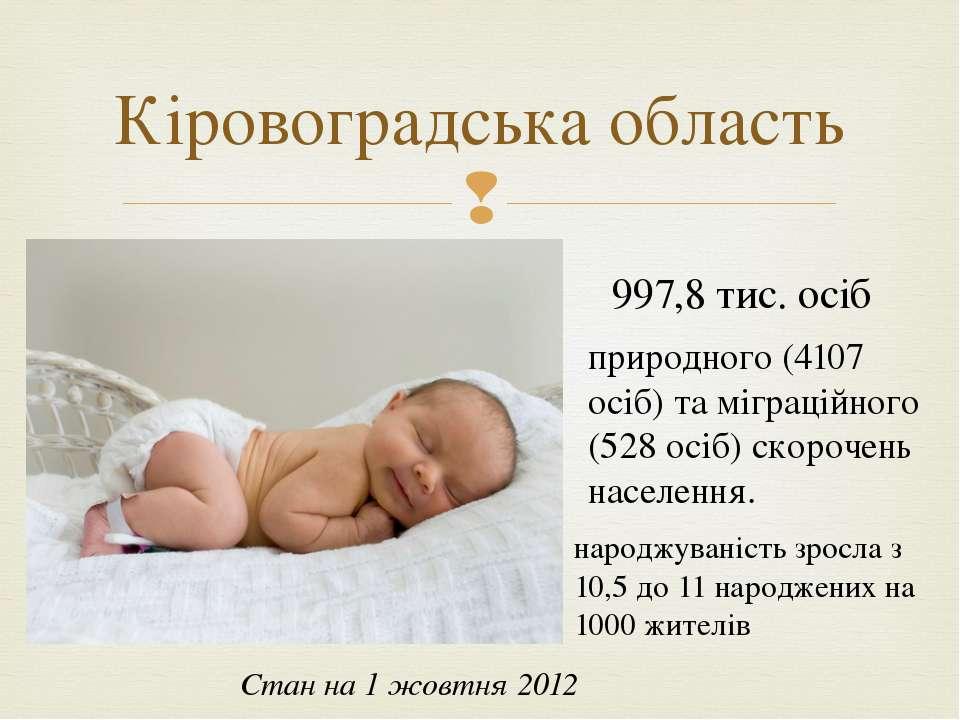 Кіровоградська область Стан на 1 жовтня 2012 997,8 тис. осіб природного (4107...