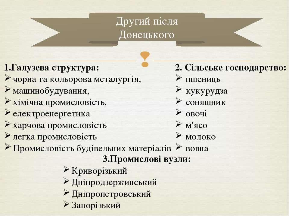Другий після Донецького 1.Галузева структура: чорна та кольорова металургія, ...