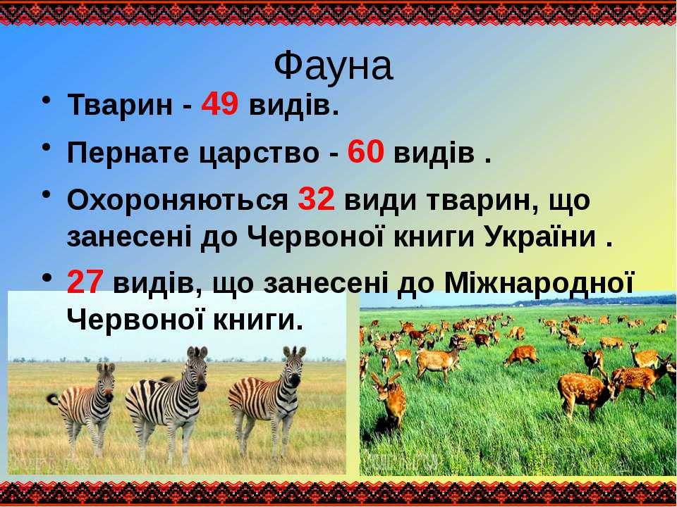 Фауна Тварин - 49 видів. Пернате царство - 60 видів . Охороняються 32 види тв...