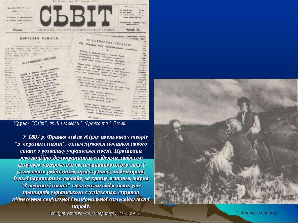 """У 1887 р. Франко видав збірку поетичних творів """"З вершин і низин"""", ознаменува..."""