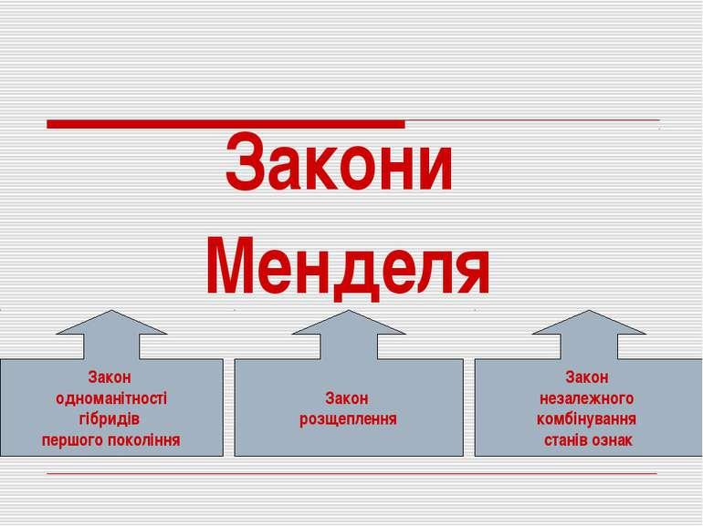Закони Менделя Закон незалежного комбінування станів ознак Закон одноманітнос...