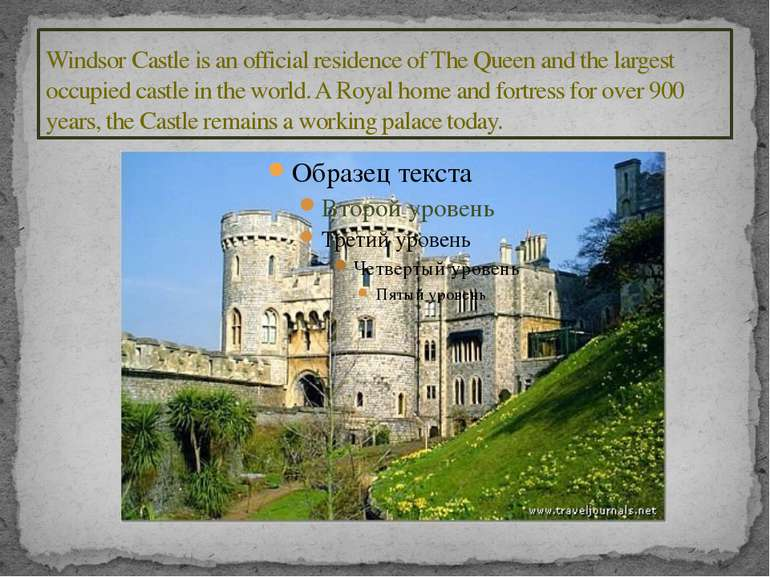 Windsor Castle is an official residence of The Queen and the largest occupied...