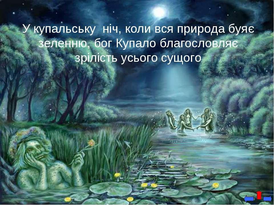 У купальську ніч, коли вся природа буяє зеленню, бог Купало благословляє зріл...