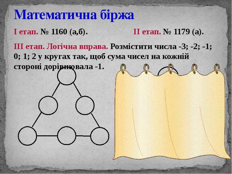 І етап. № 1160 (а,б). ІІ етап. № 1179 (а). ІІІ етап. Логічна вправа. Розмісти...