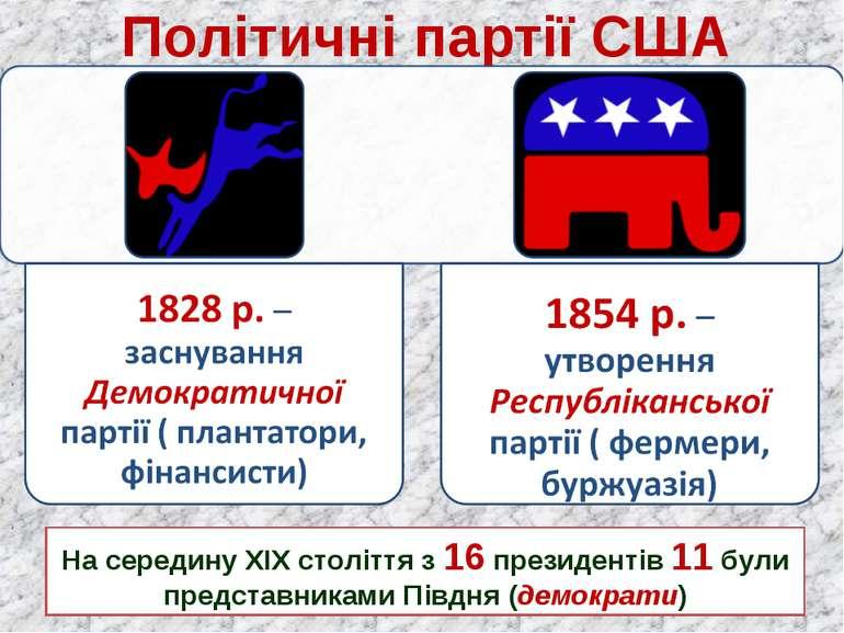 Політичні партії США На середину ХІХ століття з 16 президентів 11 були предст...