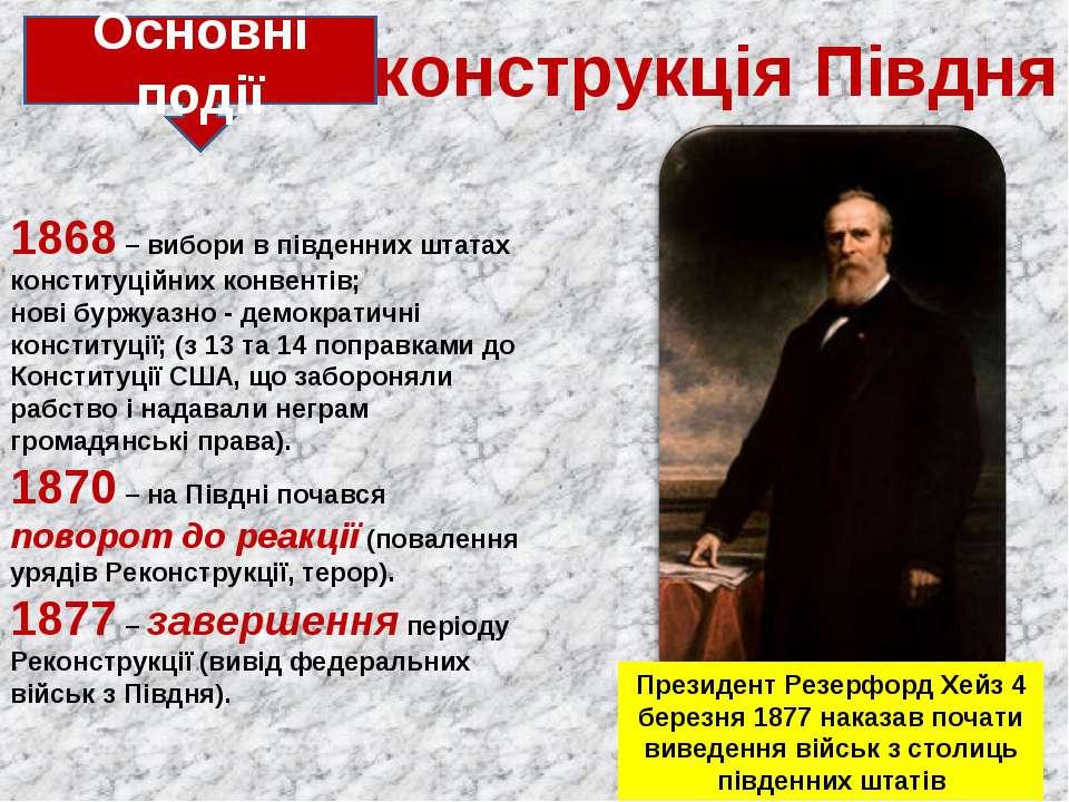 1868 – вибори в південних штатах конституційних конвентів; нові буржуазно - д...