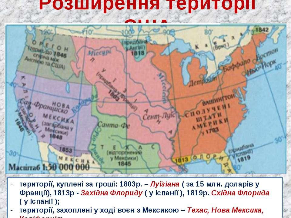 Розширення території США території, куплені за гроші: 1803р. – Луїзіана ( за ...