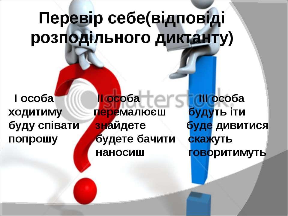 Перевір себе(відповіді розподільного диктанту) І особа ІІ особа ІІІ особа ход...