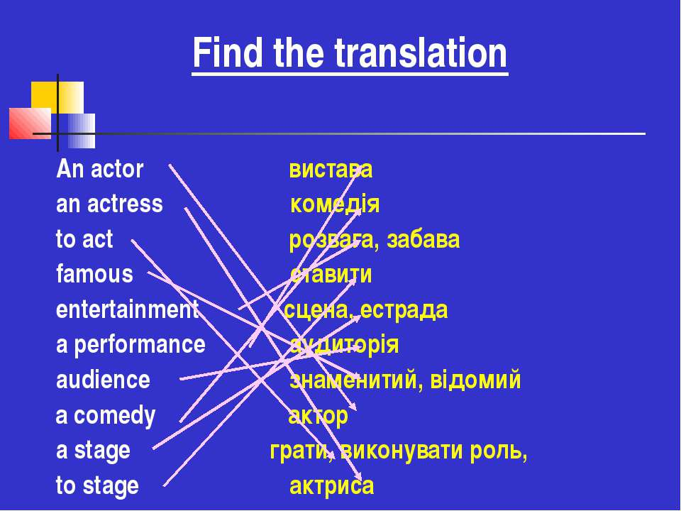 Find the translation An actor вистава an actress комедія to act розвага, заба...