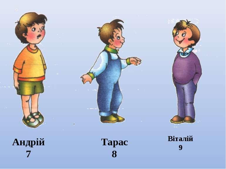 Андрій 7 Тарас 8 Віталій 9