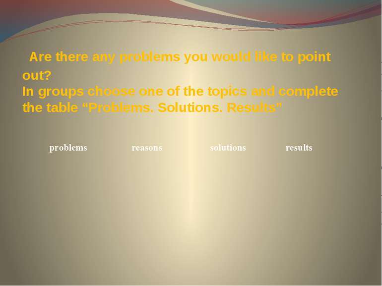 Are there any problems you would like to point out? In groups choose one of t...