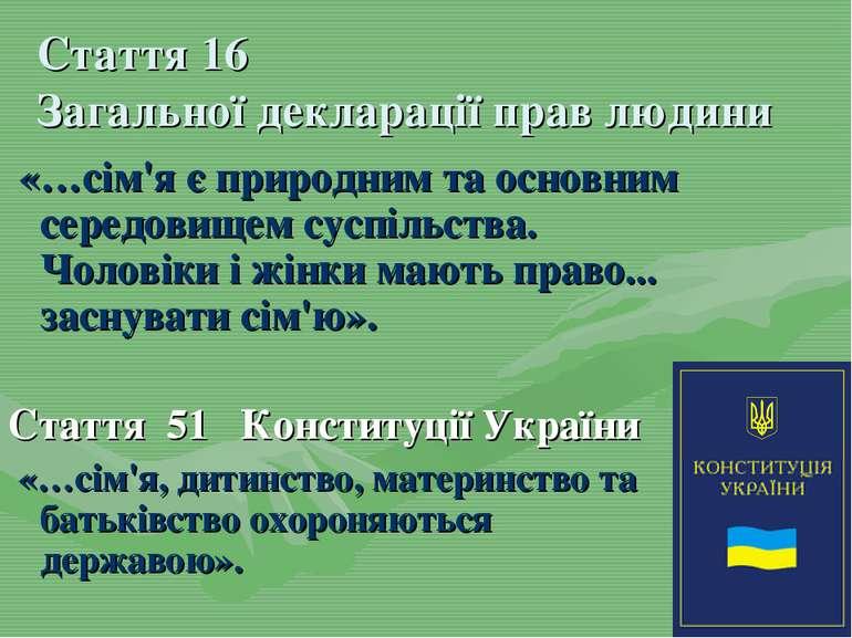 Стаття 16 Загальної декларації прав людини «…сім'я є природним та основним се...