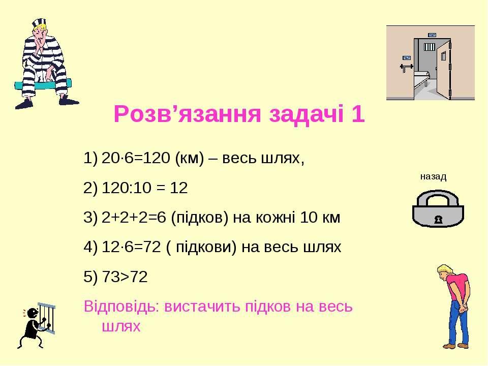 Розв'язання задачі 1 20·6=120 (км) – весь шлях, 120:10 = 12 2+2+2=6 (підков) ...
