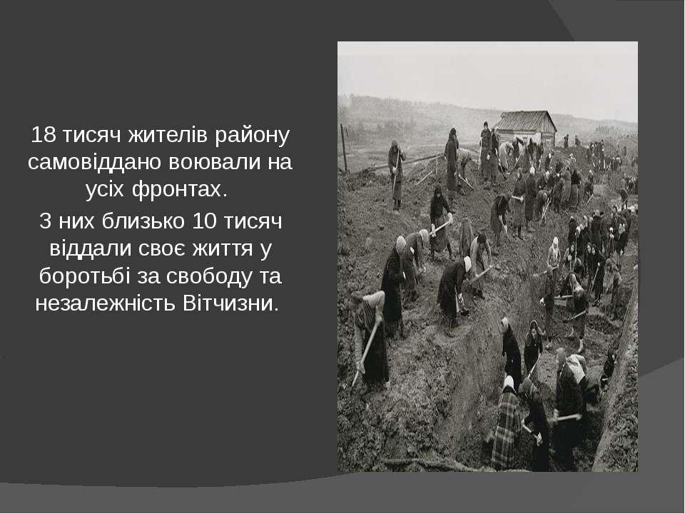 18 тисяч жителів району самовіддано воювали на усіх фронтах. З них близько 10...