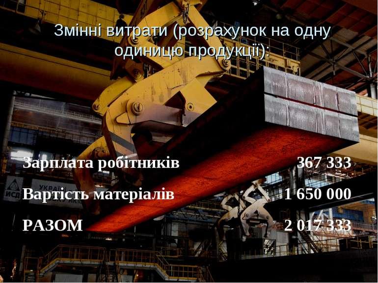 Змінні витрати (розрахунок на одну одиницю продукції): Зарплата робітників 36...