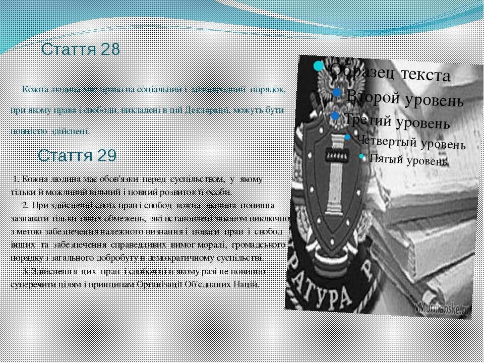 Стаття 28 Кожна людина має право на соціальний і міжнародний порядок, при яко...