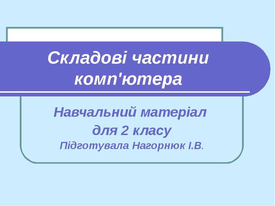 Складові частини комп'ютера Навчальний матеріал для 2 класу Підготувала Нагор...