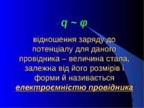 q ~ φ відношення заряду до потенціалу для даного провідника – величина стала,...