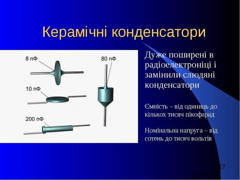 Керамічні конденсатори Дуже поширені в радіоелектроніці і замінили слюдяні ко...