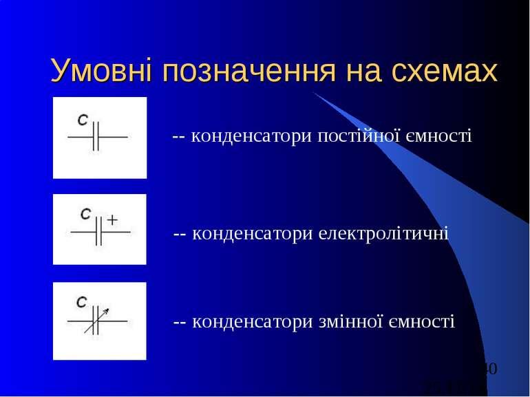 Умовні позначення на схемах -- конденсатори постійної ємності -- конденсатори...