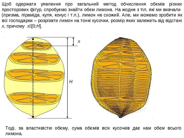 Щоб одержати уявлення про загальний метод обчислення обємів різних просторови...