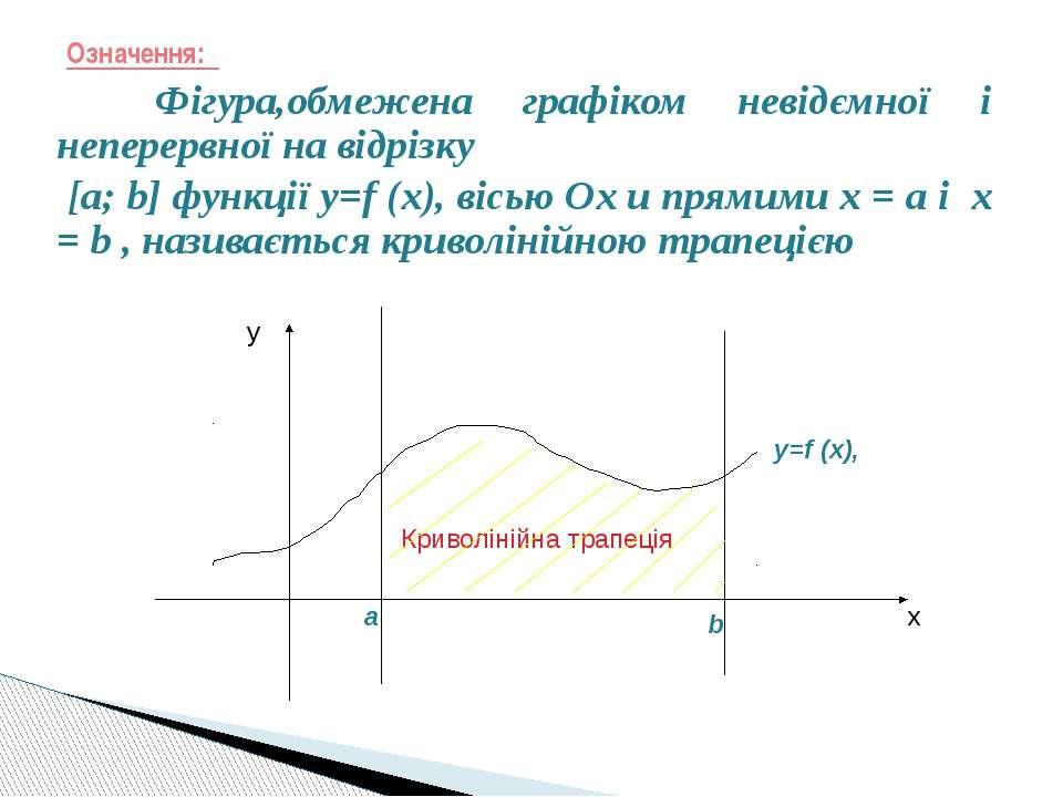 Означення: Фігура,обмежена графіком невідємної і неперервної на відрізку [a; ...