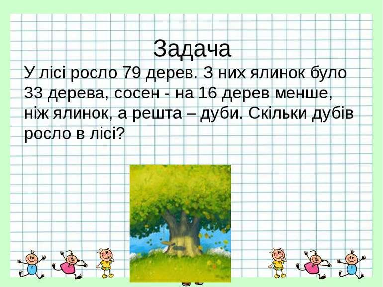 Задача У лісі росло 79 дерев. З них ялинок було 33 дерева, сосен - на 16 дере...