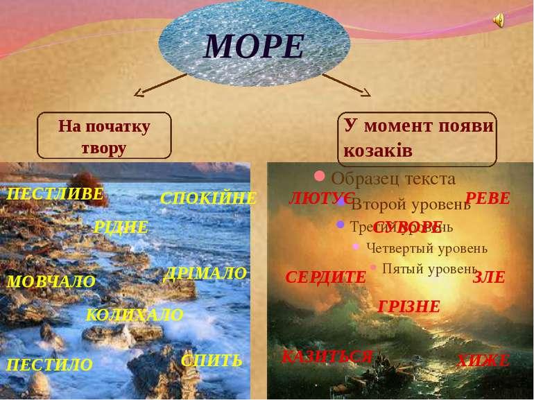 МОРЕ На початку твору У момент появи козаків ПЕСТЛИВЕ СПОКІЙНЕ РІДНЕ МОВЧАЛО ...