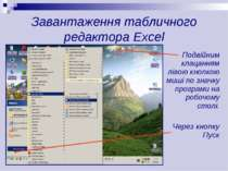 Завантаження табличного редактора Excel Подвійним клацанням лівою кнопкою миш...