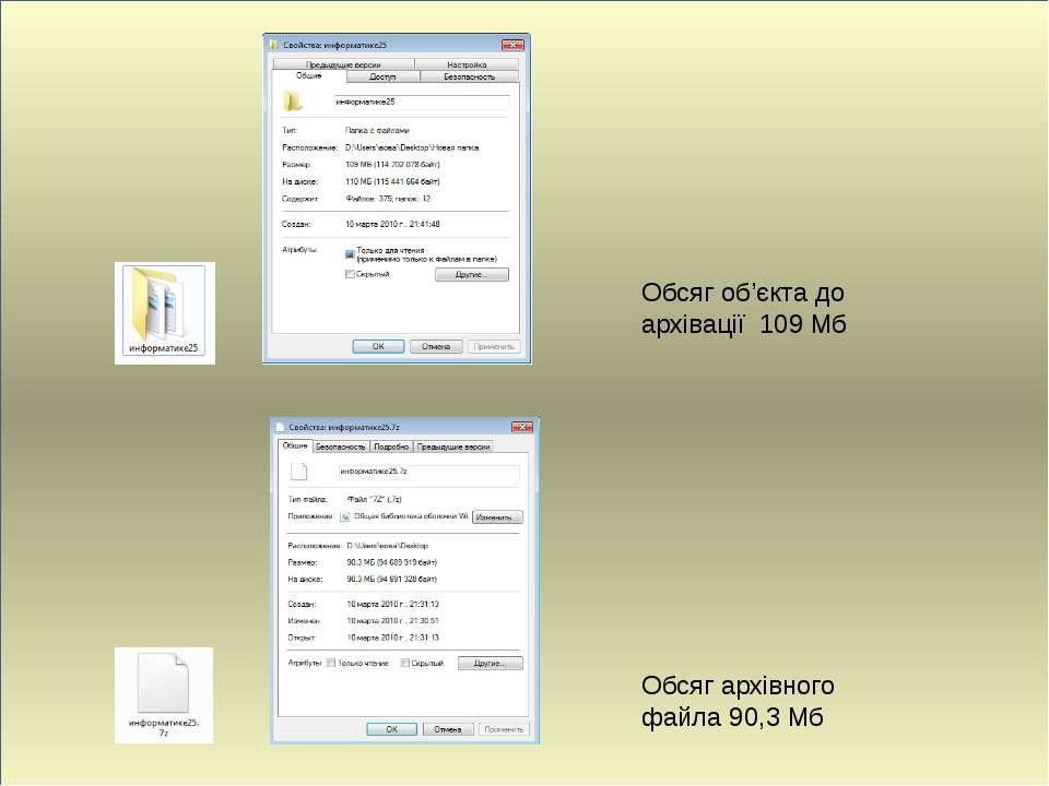 Обсяг об'єкта до архівації 109 Мб Обсяг архівного файла 90,3 Мб