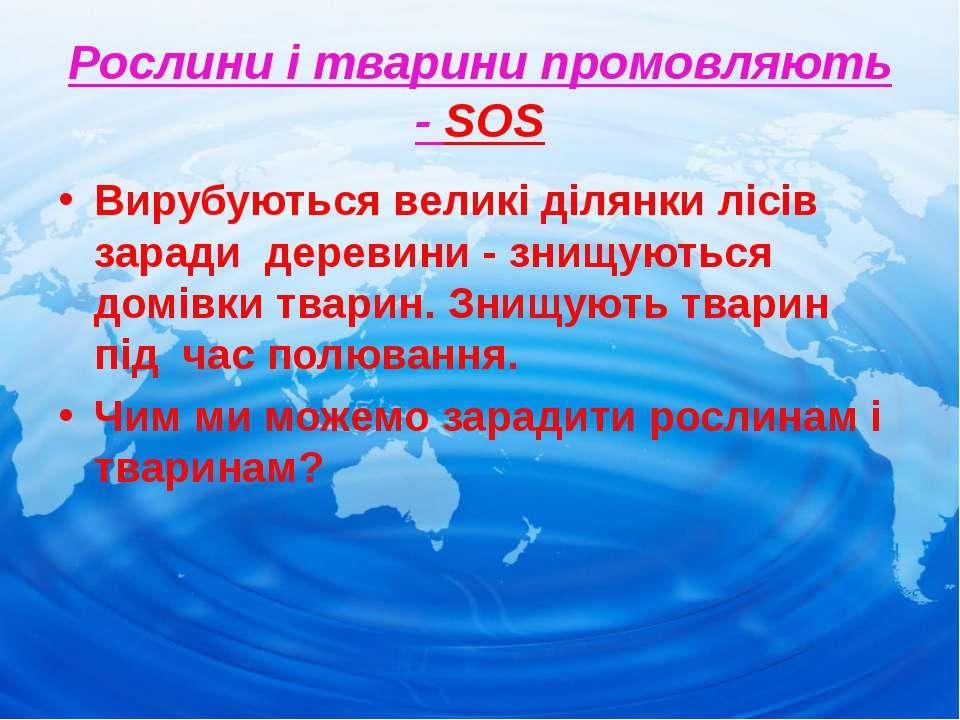 Рослини і тварини промовляють - SOS Вирубуються великі ділянки лісів заради д...