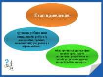 Етап проведення групова робота над завданням: робота із джерелами; тренінг; м...