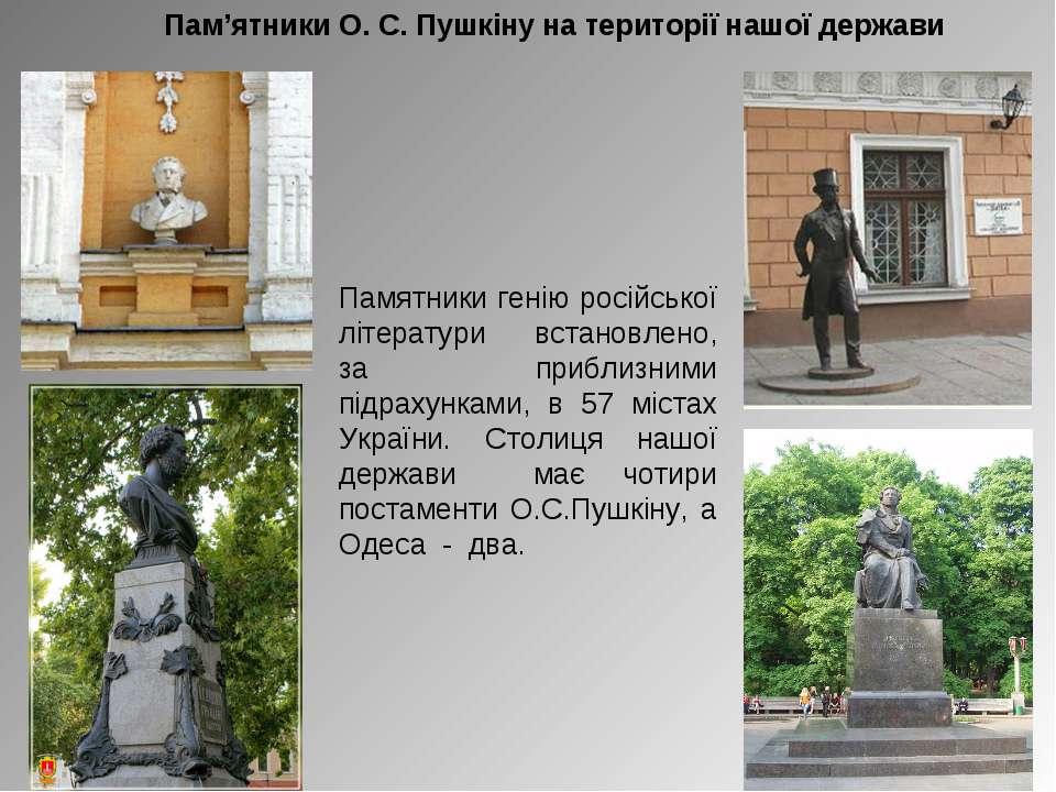 Пам'ятники О. С. Пушкіну на території нашої держави Памятники генію російсько...