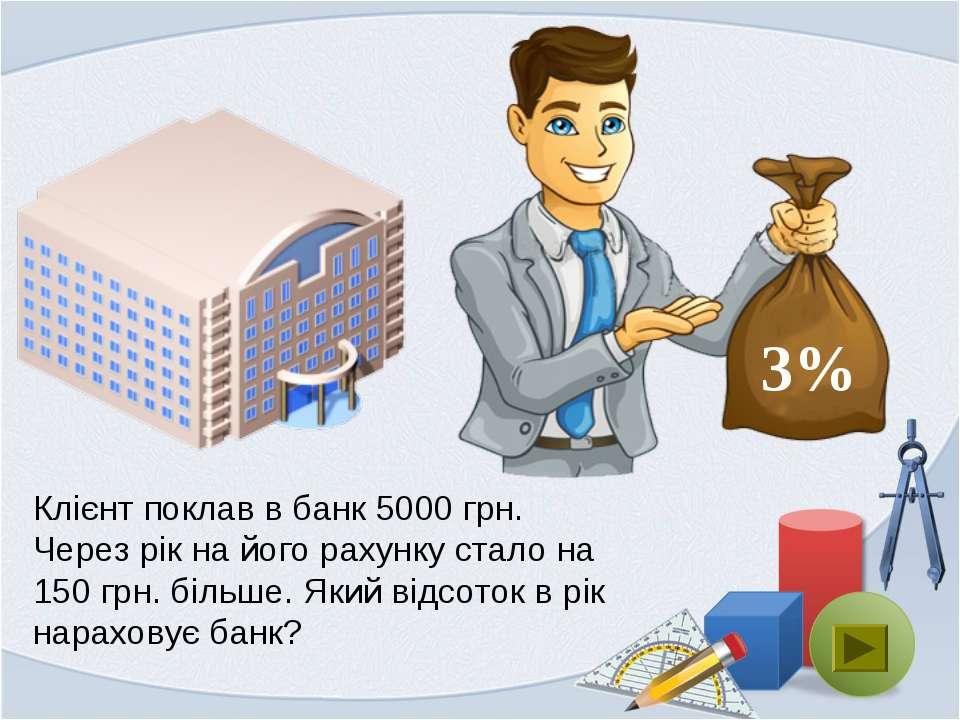 Клієнт поклав в банк 5000 грн. Через рік на його рахунку стало на 150 грн. бі...