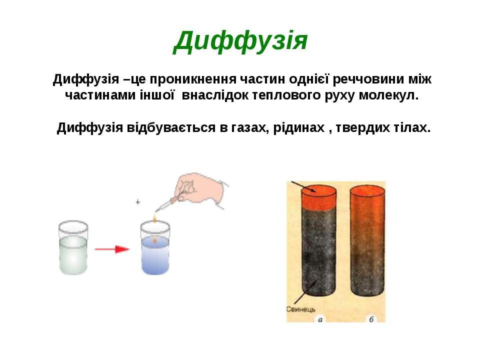 Диффузія Диффузія–це проникнення частин однієї реччовини між частинами іншої...