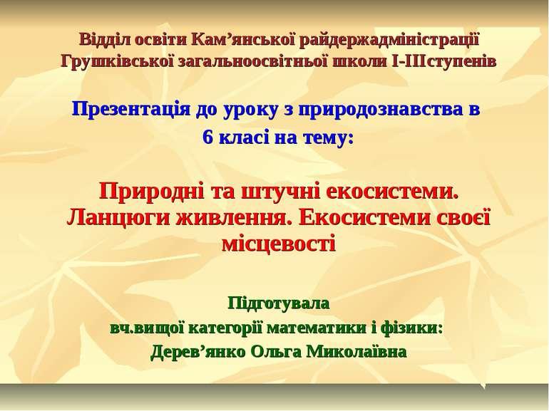 Відділ освіти Кам'янської райдержадміністрації Грушківської загальноосвітньої...