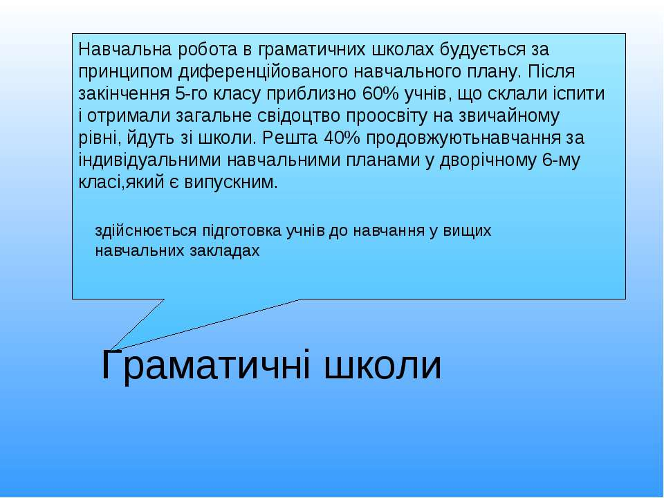 Граматичні школи Навчальна робота в граматичних школах будується за принципом...